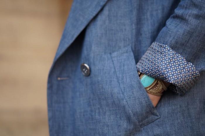 Manteau d'été lin et coton effet jean