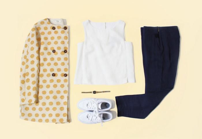 outfit ideas manteau jacquard jaune à pois
